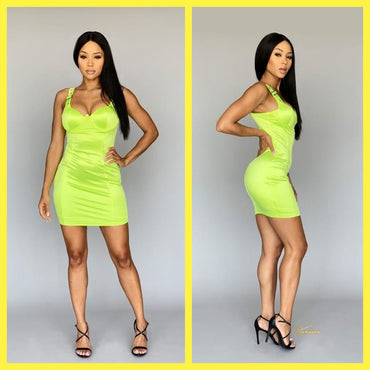 Push-up buckle strap bodycon mini dress Neon Lime by@Outfy