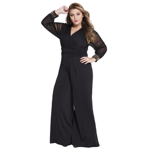 Black Embellished Cuffs Long Mesh Sleeves Jumpsuit - Desireez