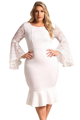White Plus Size Lace Bell Sleeve Mermaid Bodycon Dress