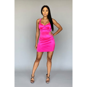 Push-up buckle strap bodycon mini dress
