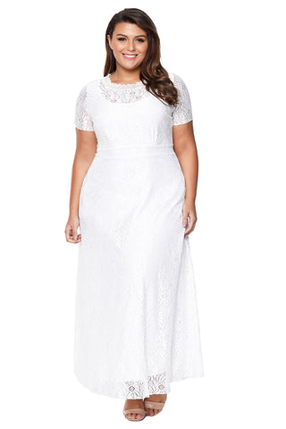 White Plus Size Lace Party Gown