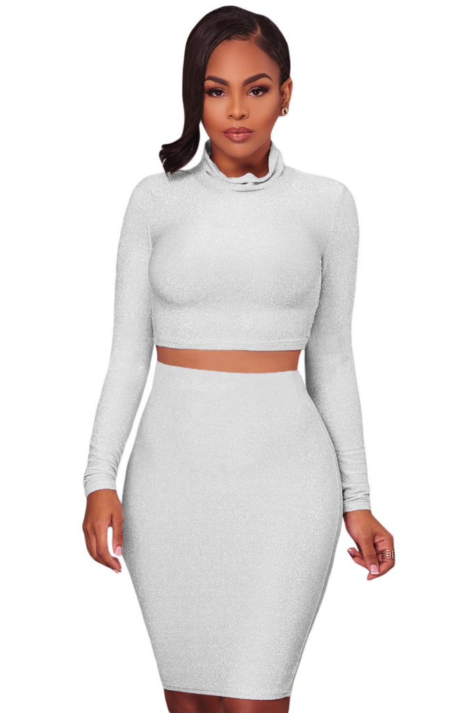 White Silver Shimmer Two Piece Dress