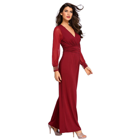 Wine Embellished Cuffs Long Mesh Sleeves Jumpsuit