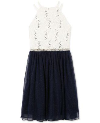 Speechless Embellished Lace Dress, Big Girl Ivory Navy