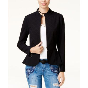 XOXO Juniors Quilted Peplum Jacket Black M