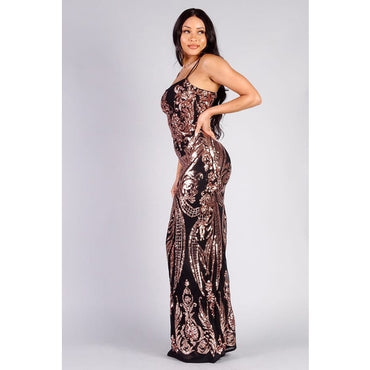 Spaghetti strap paisley sequins maxi dress