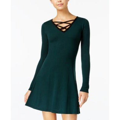 BCX Contrast Lace-Up Swea Forest Green S - Desireez