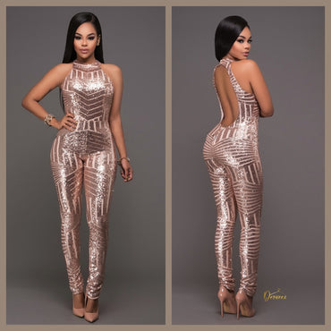 Sleeveless Sequin Backless Bodycon Jumpsuit by@Outfy