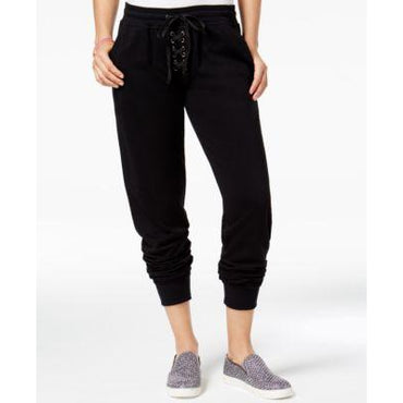 Material Girl Lace-Up Sweatpants Noir - Desireez