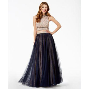 Say Yes to the Prom Juniors Embellished Contrast NavyTan 13