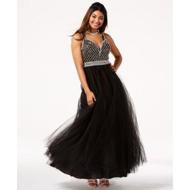 Say Yes to the Prom Embellished Strappy-Back Gown Black 7-8