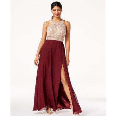Say Yes to the Prom Juniors Jeweled Contrast Side WineNude 9-10