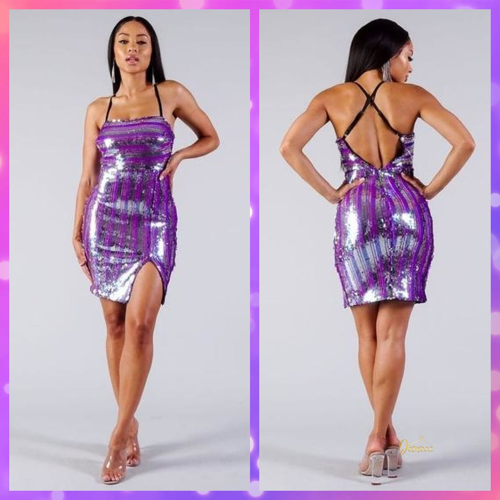 Purple sequin stripe high slit mini dress by@Outfy
