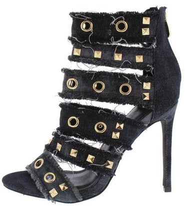 Black Denim Frayed Open Toe Embellished Strappy Heel - Desireez
