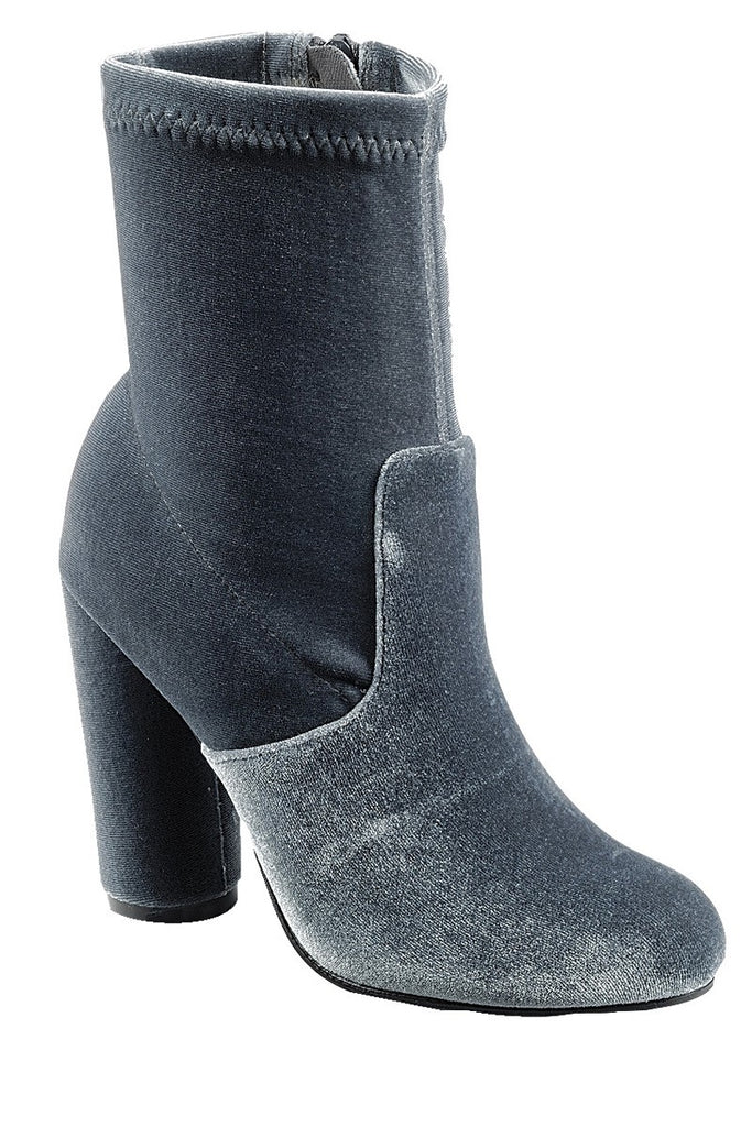 Ladies fashion reflections of sock-like ankle boot, closed almond toe, block heel with zipper closure - Desireez