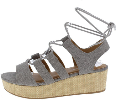 OPEN TOE GHILLIE LACE UP SLINGBACK WEDGE GRAY - Desireez