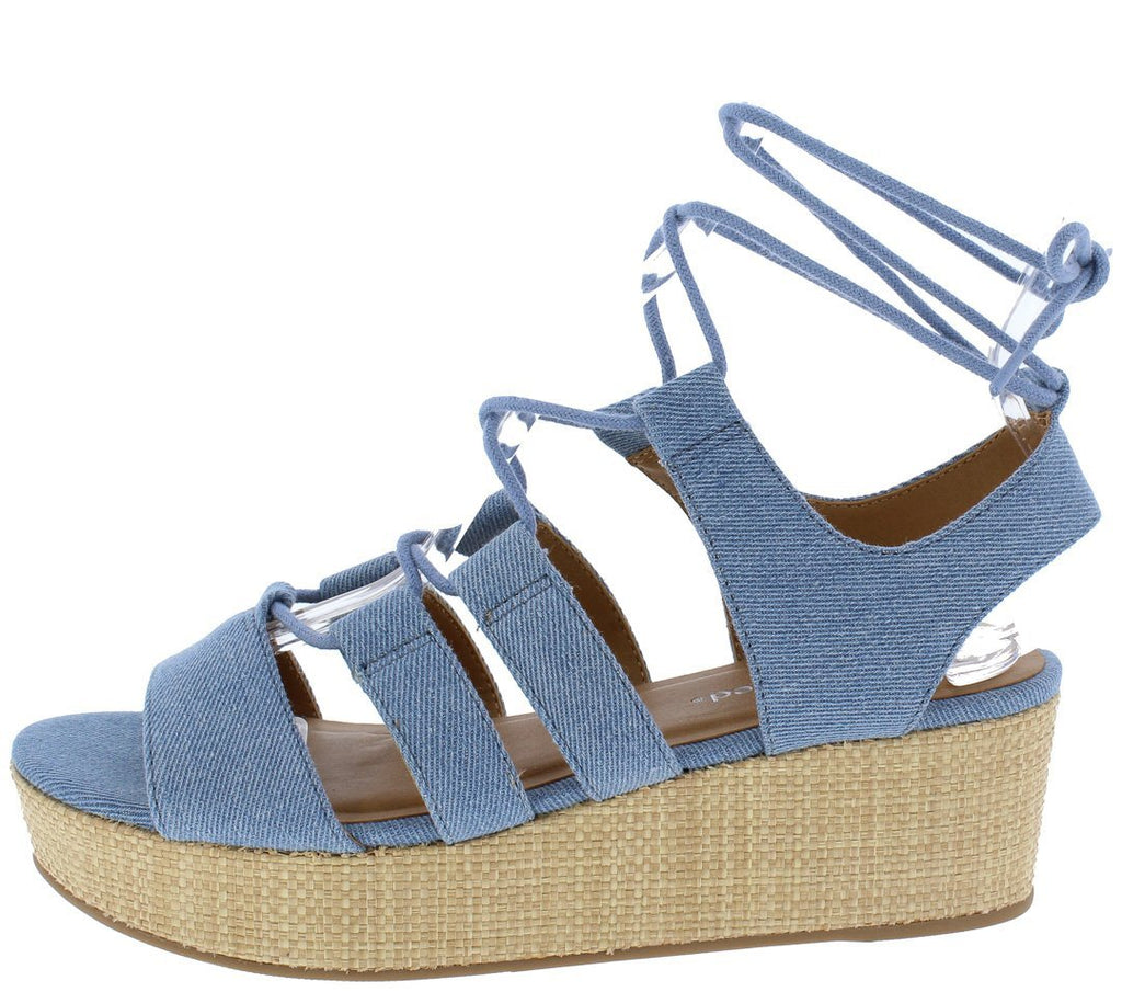 OPEN TOE GHILLIE LACE UP SLINGBACK WEDGE LIGHT BLUE - Desireez