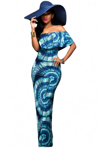 Color Gradient Fanshape Print Off-the-shoulder Maxi Dress