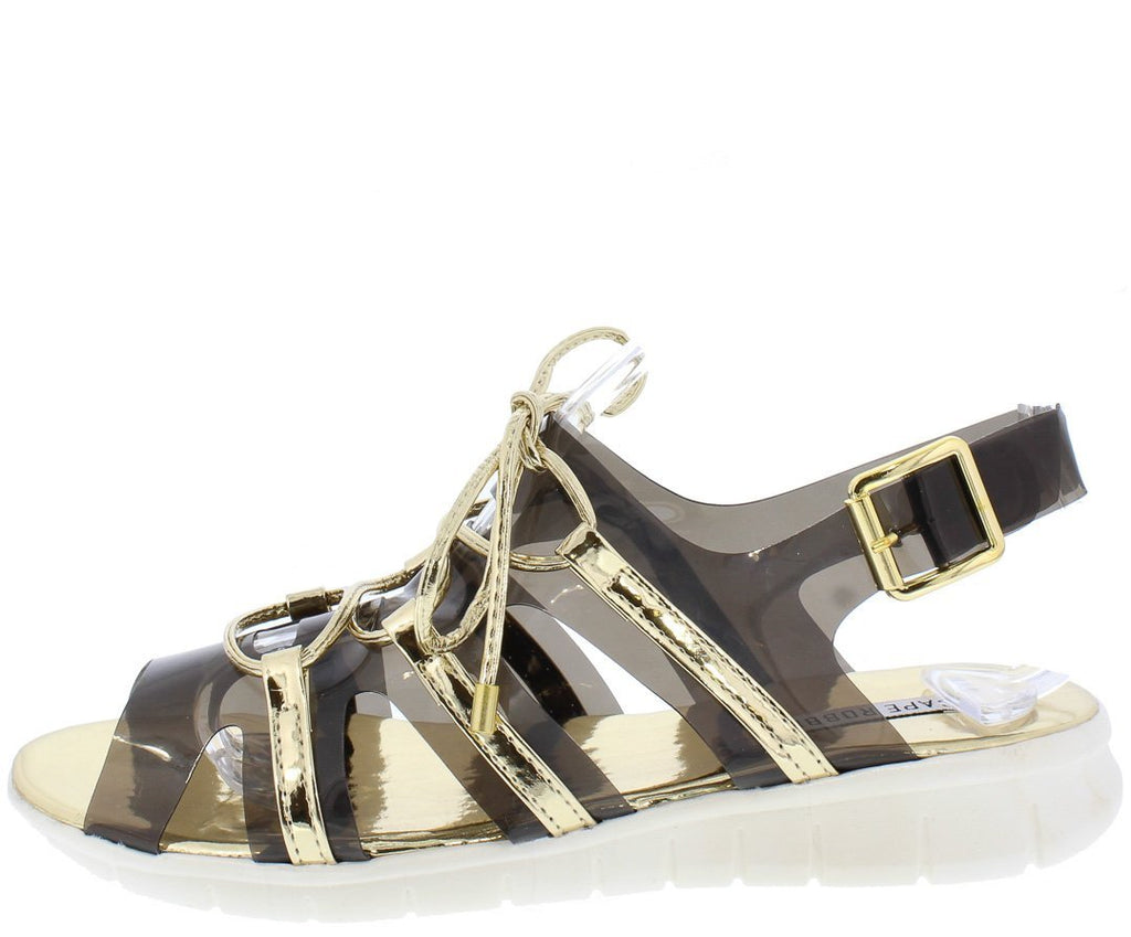 GOLD CLEAR METALLIC LACE UP SLINGBACK SANDAL - Desireez