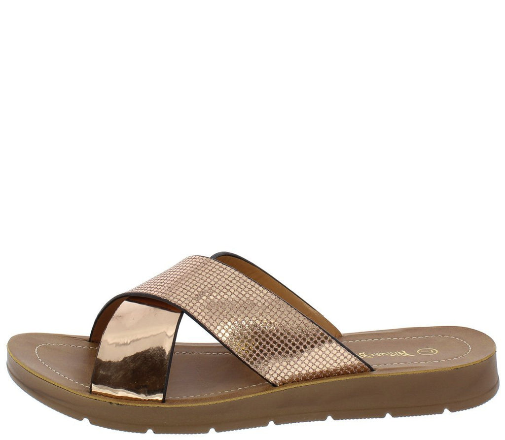 OPEN TOE CROSS STRAP SLIDE ON SANDAL Rose Gold - Desireez
