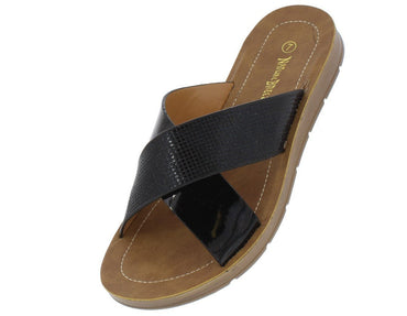 OPEN TOE CROSS STRAP SLIDE ON SANDAL Black - Desireez