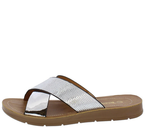 OPEN TOE CROSS STRAP SLIDE ON SANDAL Silver - Desireez