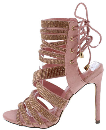 EMBELLISHED STRAPPY REAR LACE UP HEEL PINK - Desireez