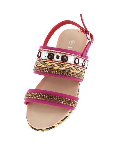 FUCHSIA BEADED BRAIDED KIDS SLING BACK SANDAL - Desireez