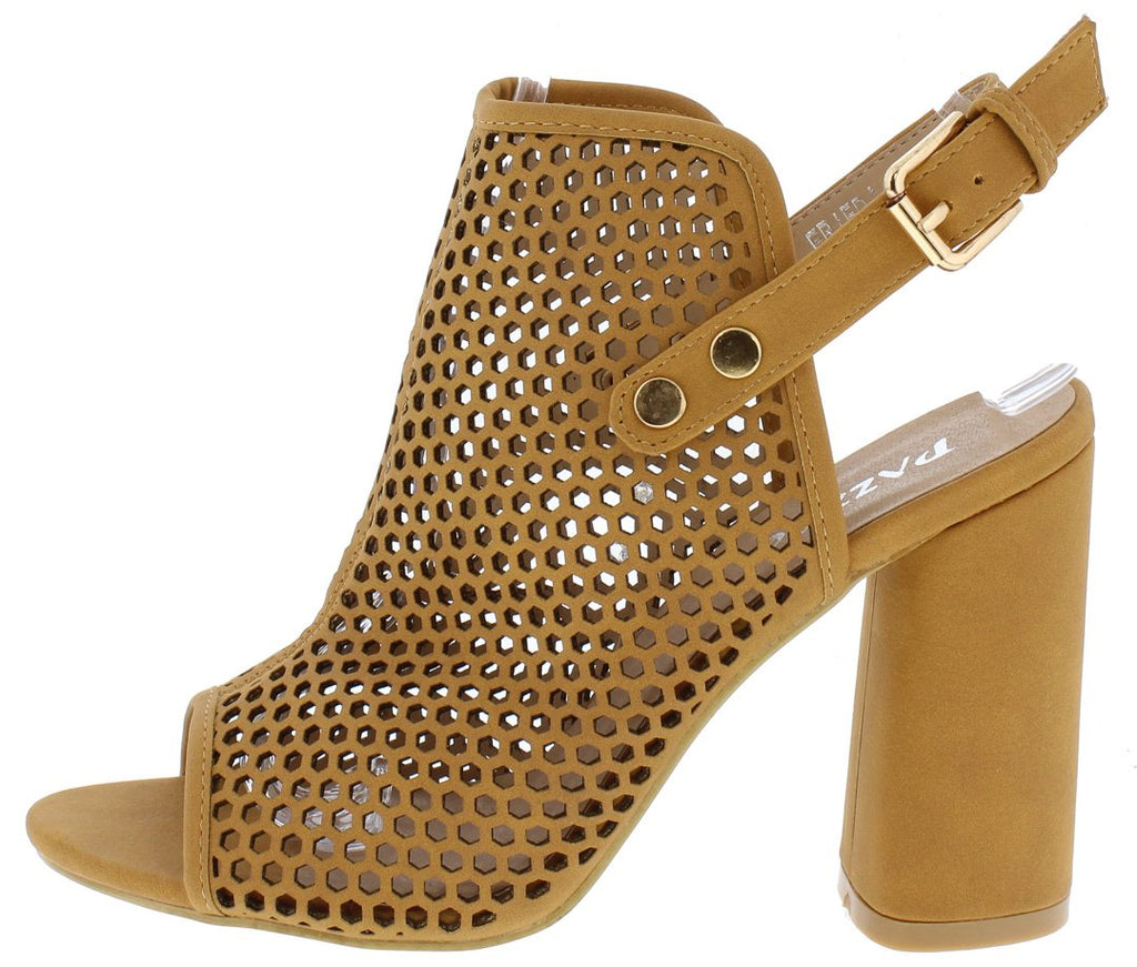 PEEP TOE PERFORATED SLING BACK SLANTED HEEL