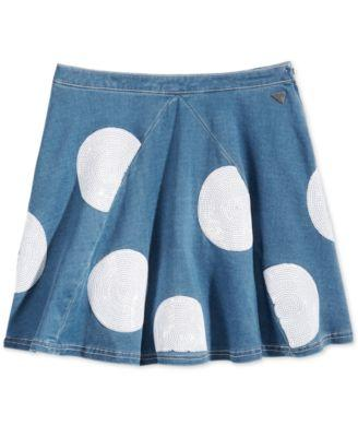 GUESS Denim Dot Circle Skirt, Big Girl Blue Denim White - Desireez