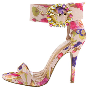 BLUSH FLORAL OPEN TOE ANKLE BUCKLE HEEL - Desireez