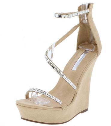 RHINESTONE OPEN TOE CROSS STRAP WEDGE