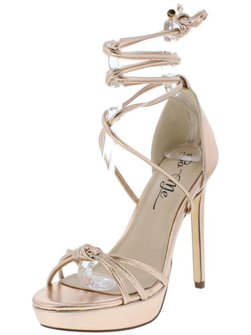 ROSE GOLD KNOTTED OPEN TOE ANKLE WRAP STILETTO HEEL
