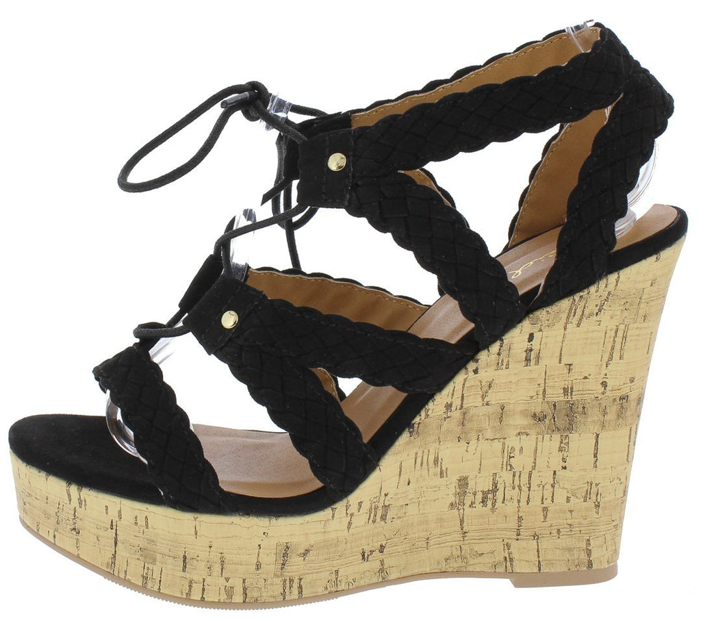 SCALLOPED STRAP GHILLIE LACE UP CORK WEDGE
