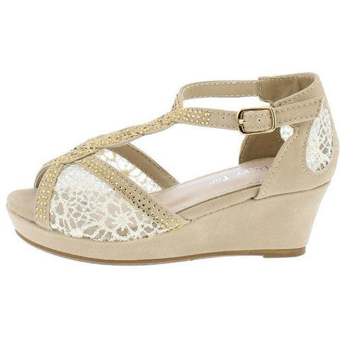 BEIGE LACE RHINESTONE BRAIDED T-STRAP KIDS WEDGE - Desireez