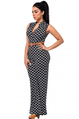 Lattice Print Belted Wide Leg Jumpsuit - Desireez