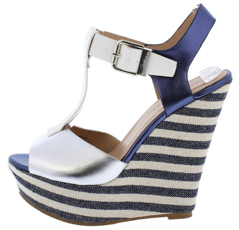 Emma123 Multi Blue Striped Peep Toe T Strap Platform Wedge - Desireez