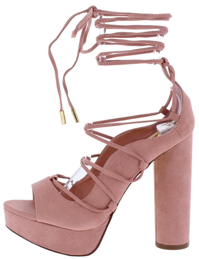 TAUPE PEEP TOE GHILLIE LACE UP BLOCK HEEL