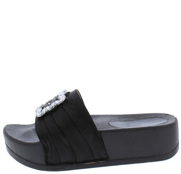 PIN TUCK SATIN JEWEL BUCKLE MULE SANDAL Black