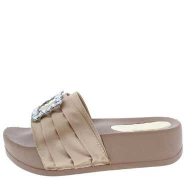 PIN TUCK SATIN JEWEL BUCKLE MULE SANDAL Nude