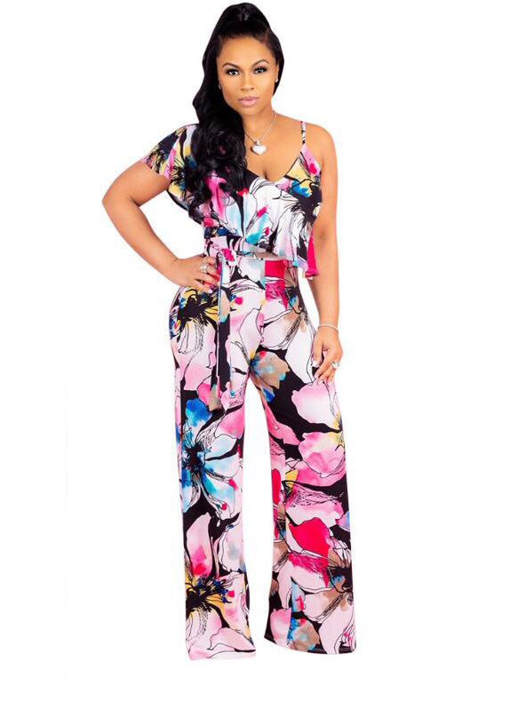 Colorful Floral One Shoulder Jumpsuit - Desireez