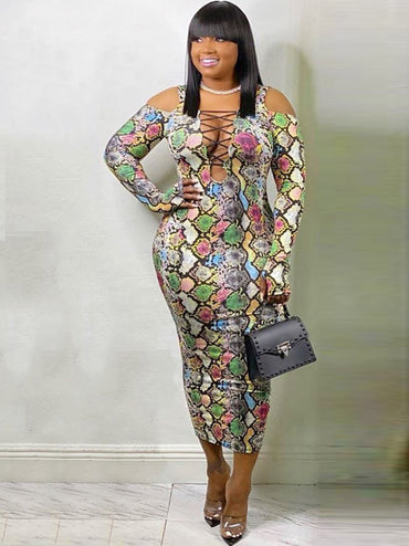 Snake Skin Printed Women Plus Size Maxi Dress