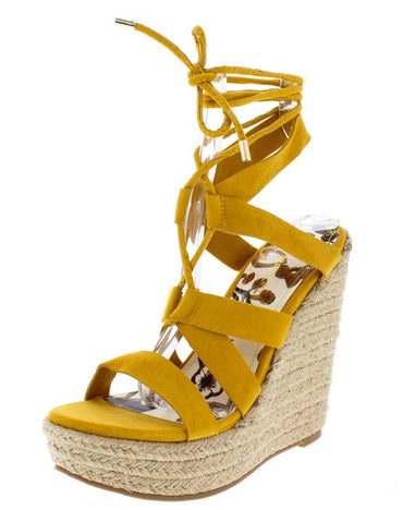 Yellow Strappy Lace Up Ankle Wrap Espadrille Wedge