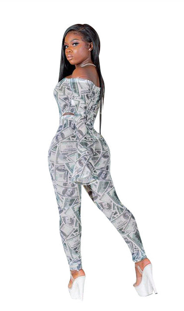 Dollars Print Off-shoulder Horn Sleeve Two-piece Suit
