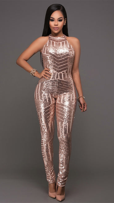 Sleeveless Sequin Backless Bodycon Jumpsuit