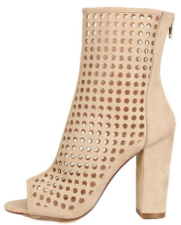 SUEDE PERFORATED PEEP TOE CHUNKY HEEL BOOT