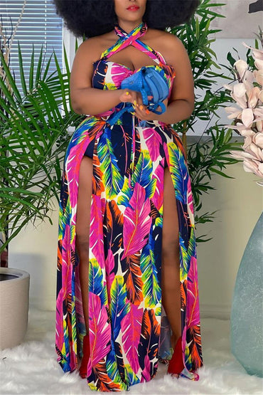 Multicolor Plus Size Print Backless Dress