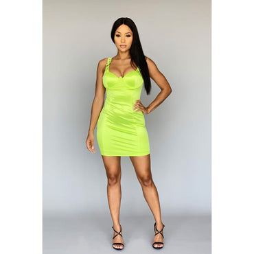 Push-up buckle strap bodycon mini dress Neon Lime