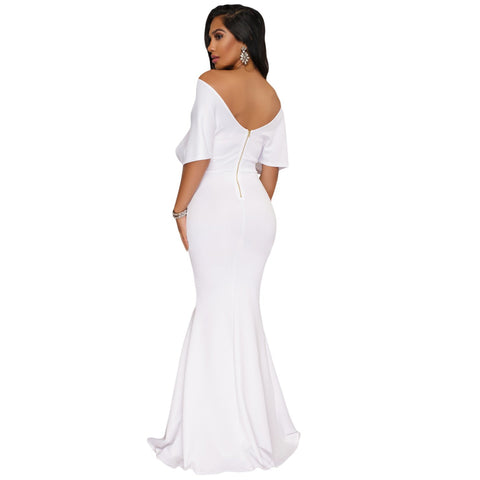 White Off The Shoulder Mermaid Maxi Dress