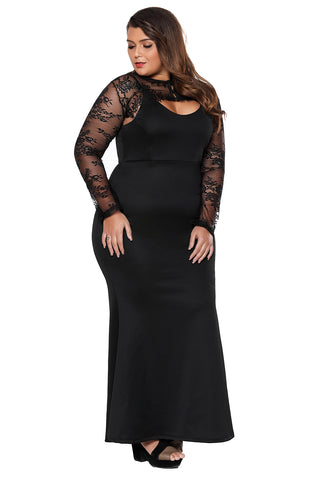 Black Plus Size Lace Bolero Mermaid Gown - Desireez